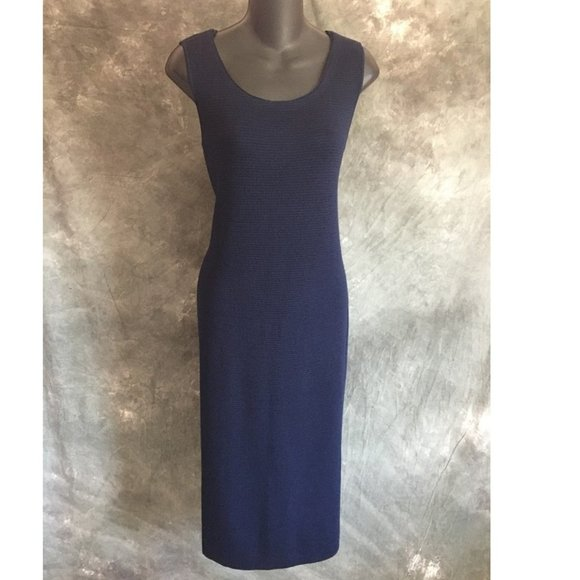 st john knit blue dress 6